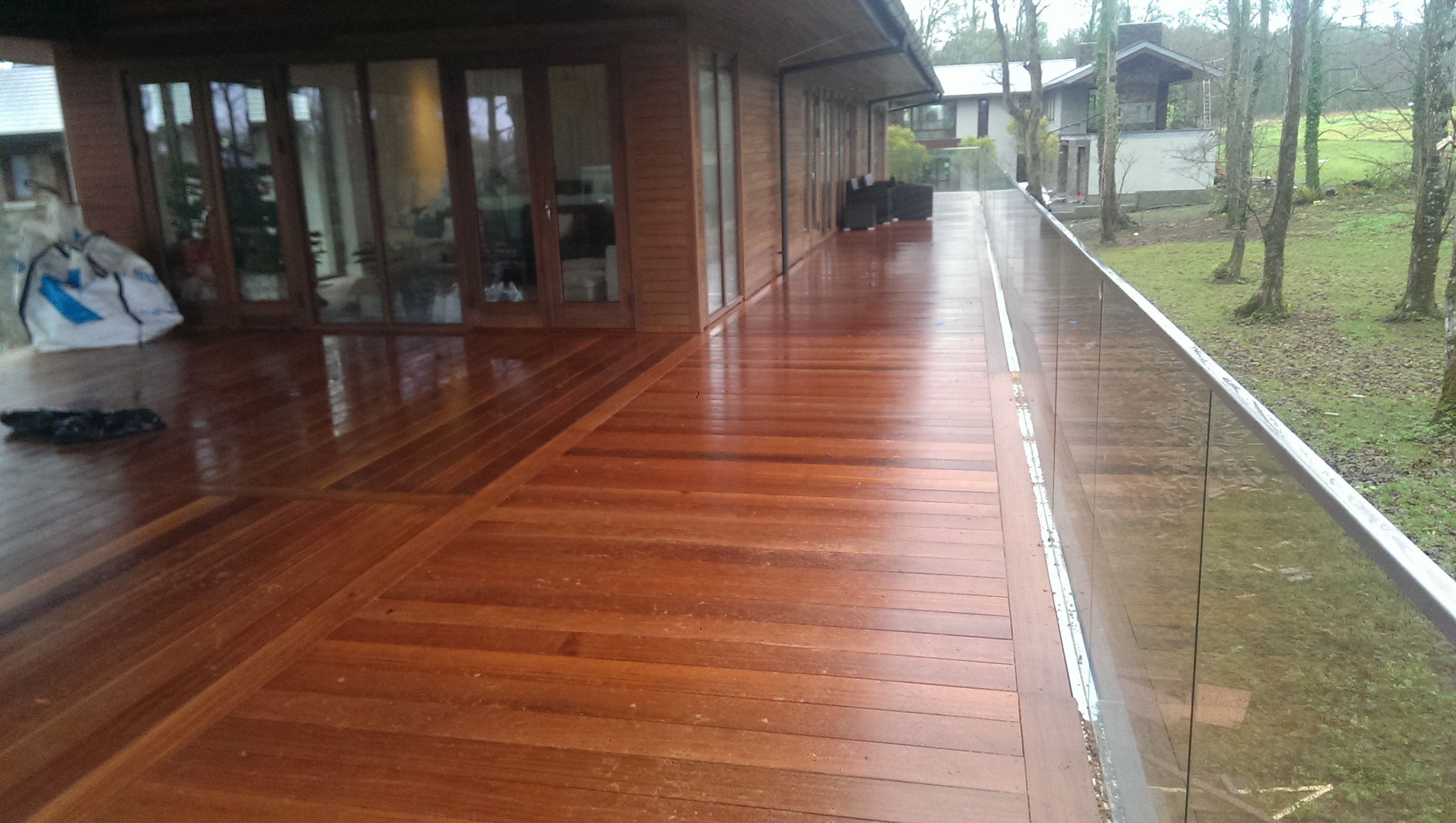 Composite hardwood softwood decking installation